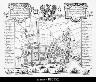 A street map of Liverpool, Merseyside, England, then a town, in 1725 by J Chadwick. - Stock Image