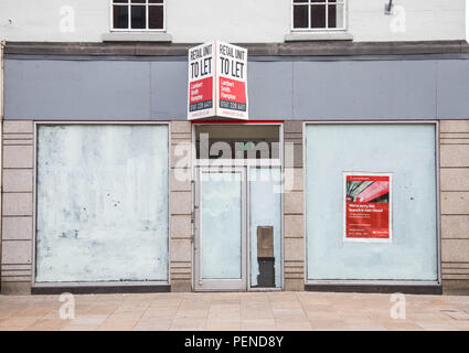 The site of a former closed Santander bank branch on the high street of Preston Lancashire June 2018 - Stock Image