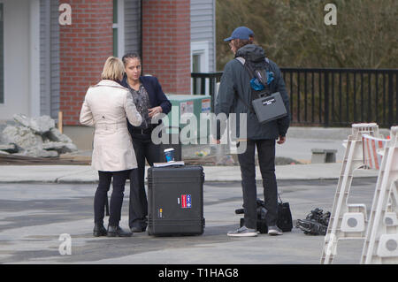 Maple Ridge, B.C. March 25, 2019.  Canadian Prime Minister Justin Trudeau to address the media about affordable housing.  CBC Vancouver news crew. - Stock Image