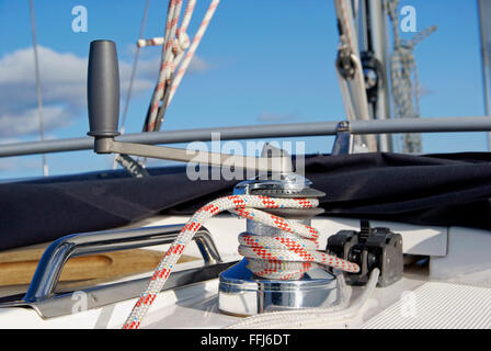 Close-up of winch on sailboat - Stock Image