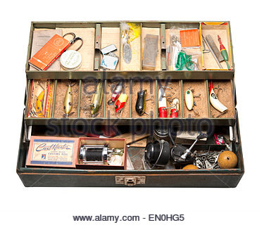 1960s Vintage Fishing Tackle Box from Michigan and the great lakes area. With Lures, reels and hooks. - Stock Image