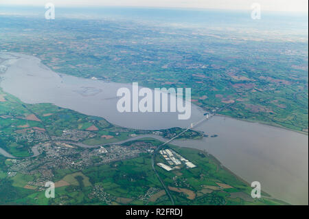 The severn estuary and first severn bridge near Chepstow Gloucestershire England - Stock Image