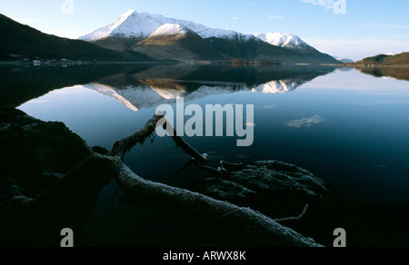 snowy mountains at Glen Coe Highlands Scotland United Kingdom of Great Britain - Stock Image