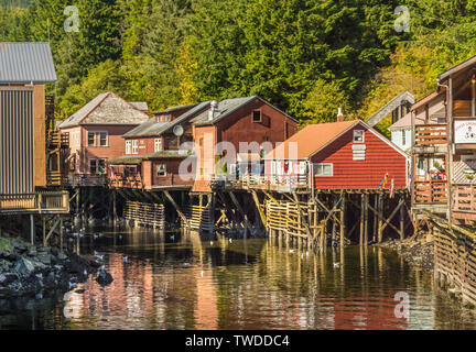 Sept. 17, 2018 - Ketchikan, AK: Historic colorful wooden buildings and former red light district of Creek St,.on boardwalk above Ketchikan Creek. - Stock Image