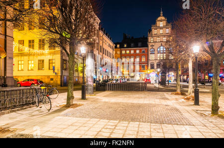 Evening view of Kornhamnstorg square, in Gamla Stan, the old town of Stockholm, Sweden - Stock Image
