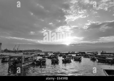 Harbour at sunset, Aqaba, Jordan - Stock Image