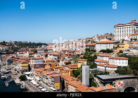 View of Porto from the Luis 1 bridge. - Stock Image