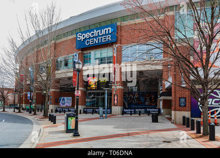 CHARLOTTE, NC, USA-3/16/19: The Spectrum Center, home of the Charlotte Hornets basketball team, and venue for other entertainment. - Stock Image