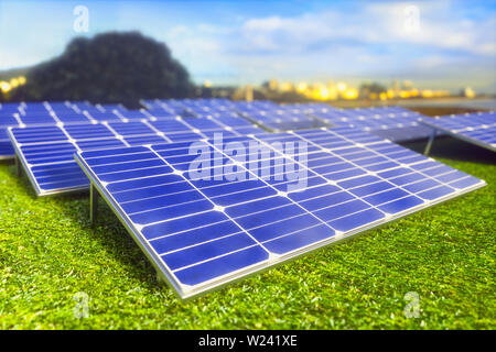 Solar farm, computer illustration. - Stock Image