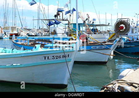 Lavandou fishing boats inport in the french Riviera, cote azur, provence, France - Stock Image