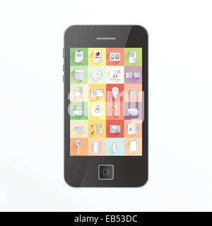 App icons on smartphone screen - Stock Image