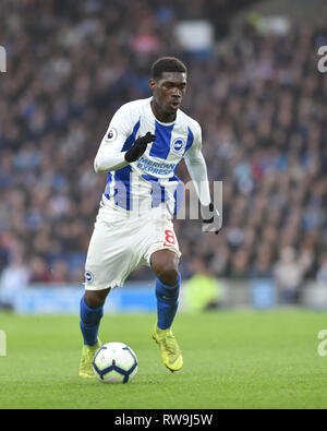 Yves Bissouma of Brighton during the Premier League match between Brighton & Hove Albion and Huddersfield Town at the American Express Community Stadium . 02 March 2019 Editorial use only. No merchandising. For Football images FA and Premier League restrictions apply inc. no internet/mobile usage without FAPL license - for details contact Football Dataco - Stock Image