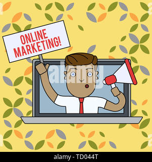 Text sign showing Online Marketing. Business photo text leveraging web based channels spread about companys brand Man Speaking Through Laptop Screen i - Stock Image