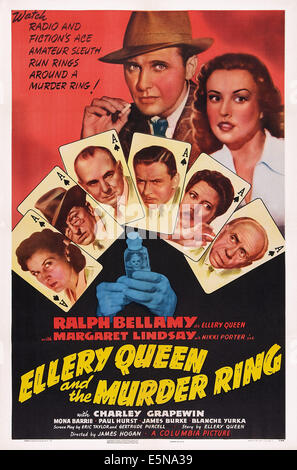 ELLERY QUEEN AND THE MURDER RING, US poster art, clockwise from lower left, Charlotte Wynters, Olin Howland, George - Stock Image