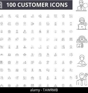 Customer line icons, signs, vector set, outline illustration concept  - Stock Image