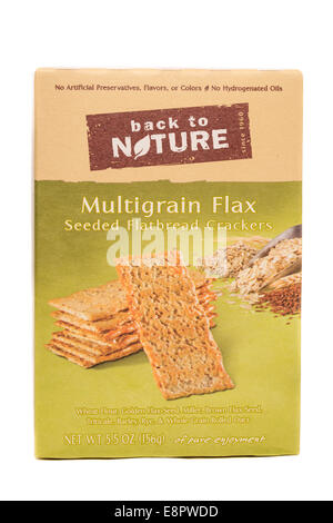 Back to Nature brand Multigrain Flax Seeded Flatbread Crackers - Stock Image