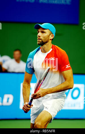 Pune, India. 5th January 2019. Ivo Karlovic of Croatia in action in the singles finals of Tata Open Maharashtra ATP Tennis tournament in Pune, India. - Stock Image