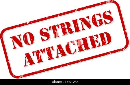 No strings attached red rubber stamp vector isolated - Stock Image