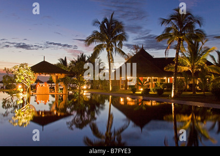Resort Moevenpick at twilight luxery table in small pavillion sunset south coast of Mauritius Africa - Stock Image