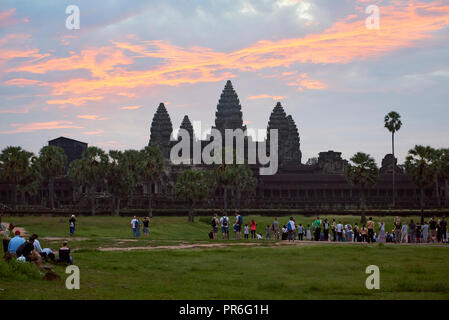 Sunrise in Angkor Wat. The Angkor Wat complex, Built during the Khmer Empire age, located in Siem Reap, Cambodia, is the largest religious monument in - Stock Image