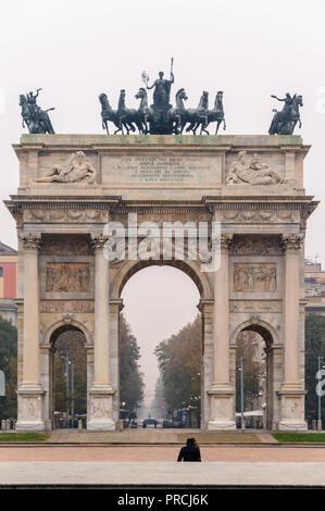 Arco della Pace, Piazza Sempione, Milan, Metropolitan City of Milan, Italy - Stock Image