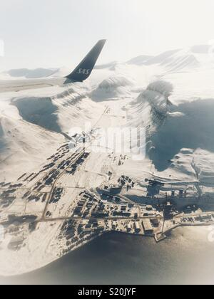 Takeoff from Longyearbyen LYR on Svalbard. - Stock Image