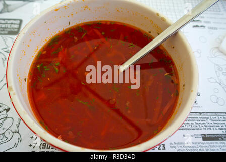 Borscht soup, Moscow, Russia - Stock Image