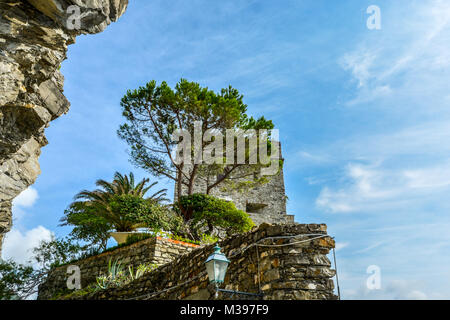 The ruins of the Aurora Tower and Castle at Monterosso al Mare, Cinque Terre Italy on the Ligurian Coast - Stock Image