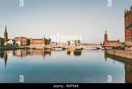 Stockholm city view water reflection touristic central popular landmarks in Sweden Europe travel - Stock Image