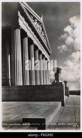 The Shrine of Remembrance - The National War Memorial of Victoria - Australia - WW1 Shrine and Memorial Complex in Melbourne. Dedicated by HRH The Duke of Gloucester on 11th November 1934. The North Portico.     Date: 1934 - Stock Image