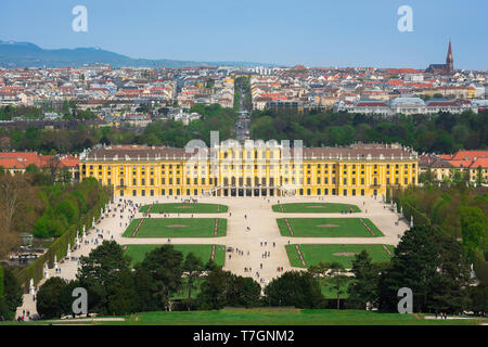Schonbrunn Vienna, view of the parterre garden and baroque exterior of the south side of the Schloss Schönbrunn palace in Vienna, Austria. - Stock Image