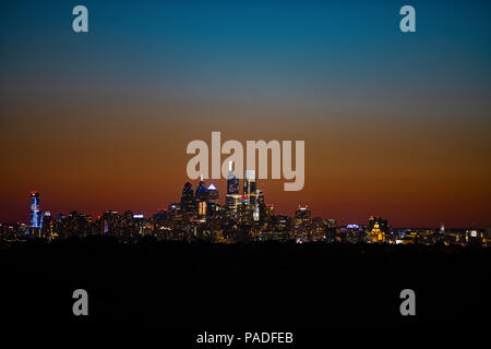 Philadelphia Skyline after Sunset - Stock Image