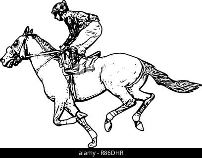 jockey riding race horse drawing - vector - Stock Image