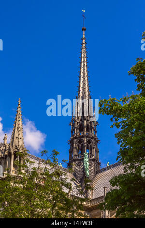 Spire of Cathedral of Notre Dame de Paris, France - Stock Image