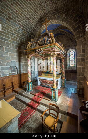 France, South-Western France, Cantal, Salers, Romanesque Church of Tournemire - Stock Image