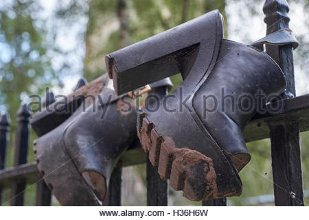 Nottingham, England, 4 October 2016  Lost shoes, after the party, night out? Woman's platform shoes on St Mary's - Stock Image
