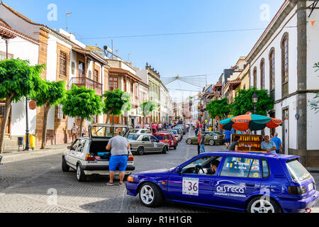 A classic car rally down the main street, Teror Gran Canaria, canary islands - Stock Image