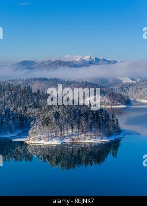 Lokve lake in Croatia winterscape landscape during Winter - Stock Image