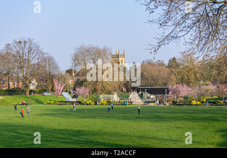 View across St. James Park in the Shirley district of Southampton during a sunny day Spring 2019, Southampton, Hampshire, England, UK - Stock Image