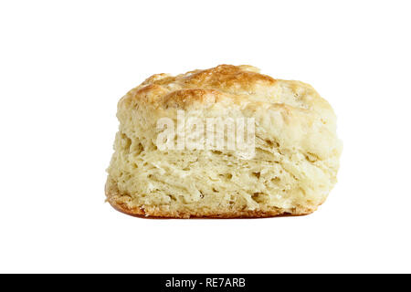 Buttermilk southern biscuit or scone isolated over a white background with light shadow and clipping path.. - Stock Image