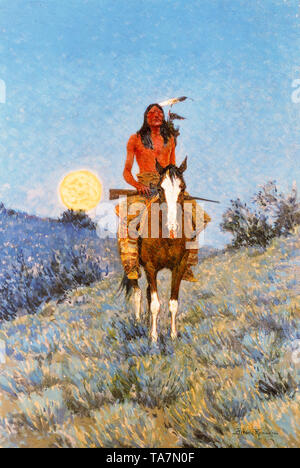 Frederic Remington, The Outlier, painting, 1909 - Stock Image