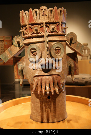 Tlaloc Pueblan God of Water, Pre-Columbian Art from Chicayan, Ozuluama, Veracruz in the National Museum of Anthropology - Stock Image
