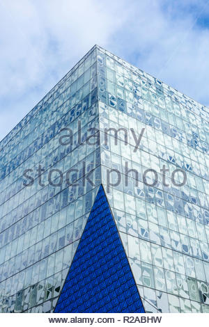 Glass facade of Ryerson University Student learning Centre building in downtown Toronto Ontario Canada - Stock Image