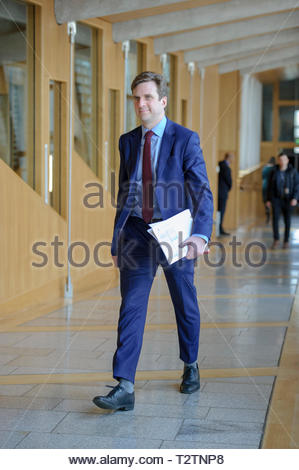 Edinburgh, UK. 4th April, 2019.  Daniel Johnson arriving for First Ministers Questions in the Scottish Parliament. Credit: Roger Gaisford/Alamy Live News - Stock Image