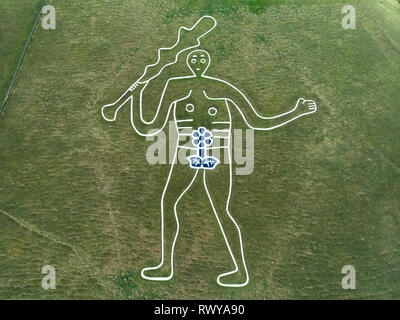Cerne Abbas, Dorset, UK.  8th March, 2019.  To celebrate International Women's Day 2019 a team of anonymous 'guerilla artists' working through the night have temporarly turned the Cerne Abbas Giant's 9 metre penis into a 9 metre flower.  This humorous temporary enrichment and transformation into a flower is not a call for a permanent change to the chalk creation but an invitation to begin peaceful discussions about relationships within society and hopefully creating equality.  Gordon Scammell/Jay Enticknap/Live News - Stock Image