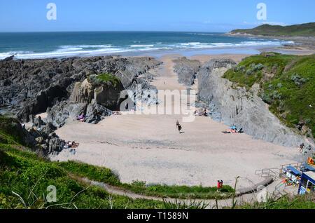 Barricane Beach, adjacent to Woolacombe Bay, Devon, UK - Stock Image