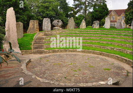 The ECOS standing stones in Frome around the amphitheatre at the Community College.12 stones from the founder members of the EU showing the spirit of - Stock Image