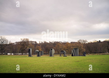 Anthony Caro's Promenade at the Yorkshire Sculpture Park. - Stock Image