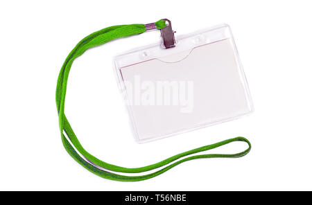 Blank badge mockup with green ribbon rope. Empty name tag mock up. Corporate badge namecard isolated on white clipping path - Stock Image