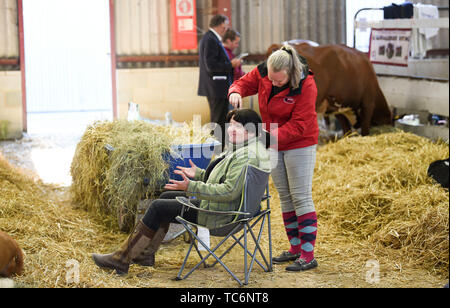 Ardingly Sussex UK 6th June 2019 -  It's not just the cattle that get spruced up for competition as Ree Woodward has a her hair done by colleague Kayleigh Gosling on the first day of the South of England Show held at the Ardingly Showground in Sussex. The annual agricultural show highlights the best in British farming and produce and attracts thousands of visitors over three days . Credit : Simon Dack / Alamy Live News - Stock Image